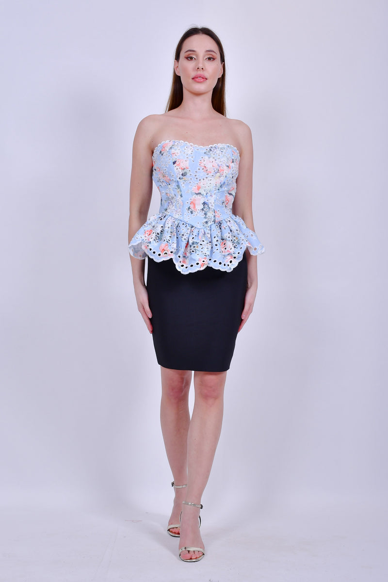 Light Blue Floral Top with Peplum