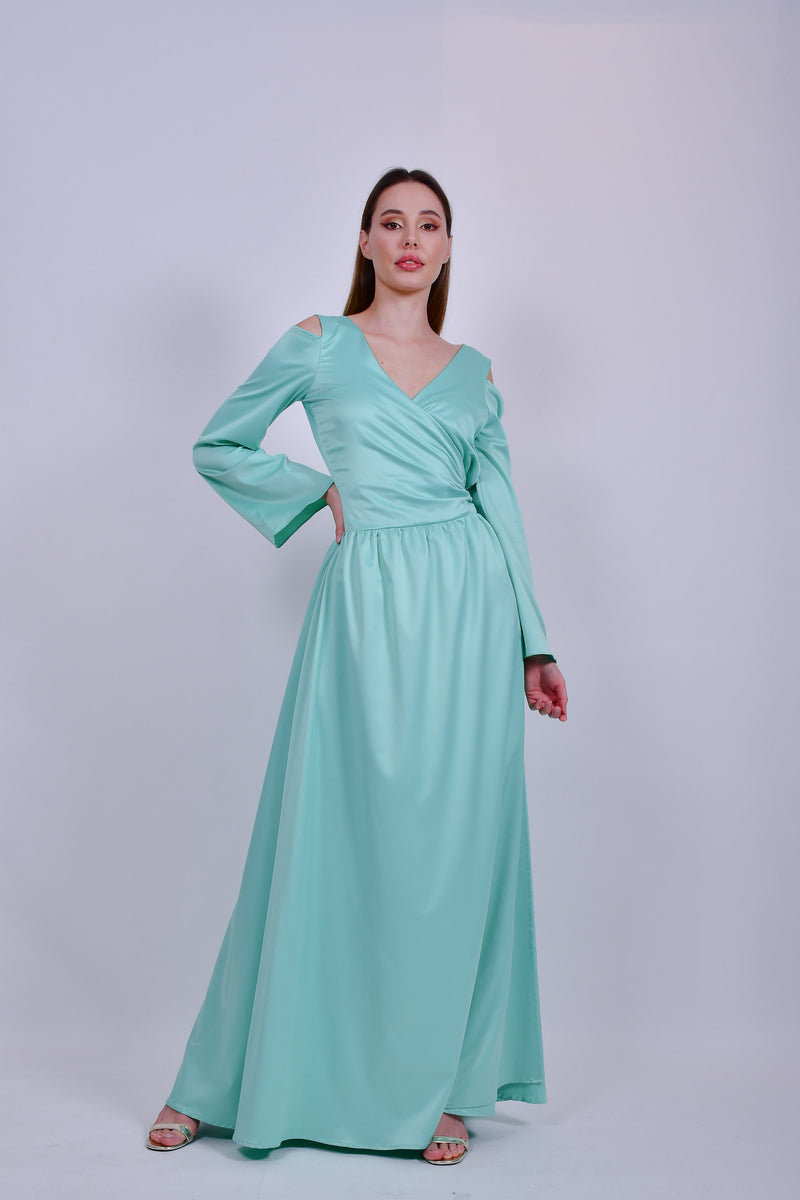 Mint Green Satin Wrap Long Sleeve Dress