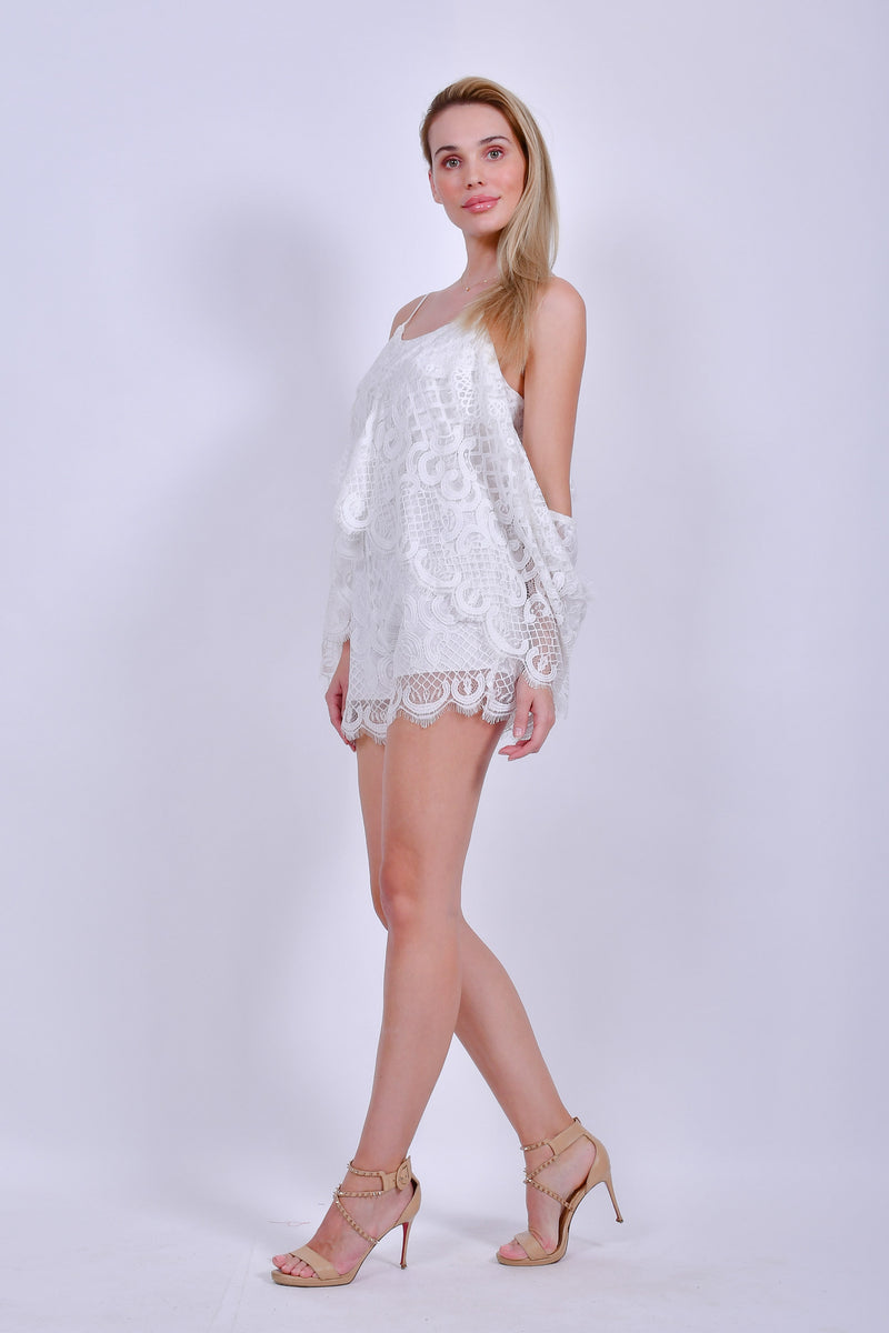 White Lace Off the Shoulder Romper