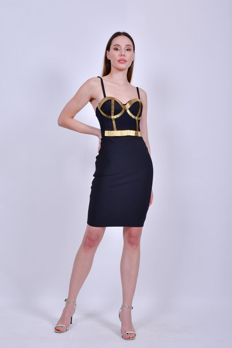 Black Bustier with Gold Detail