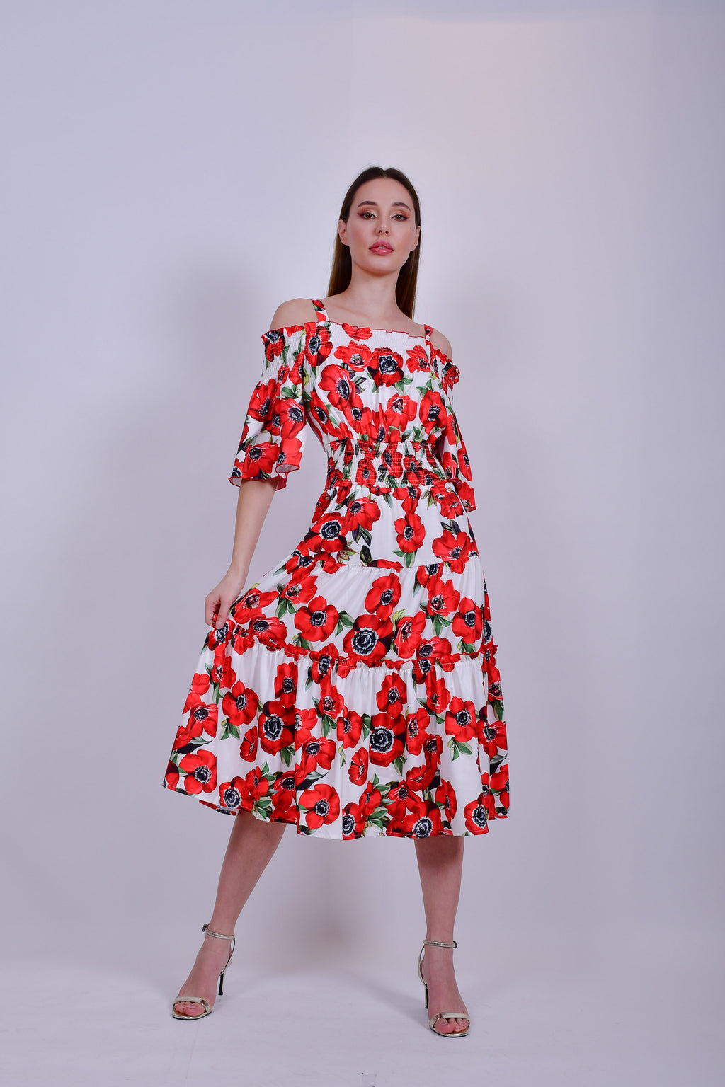 White and Red Floral Off the Shoulder Midi  Dress