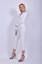 White Long Sleeve Crepe Jumpsuit with Back Cut Out
