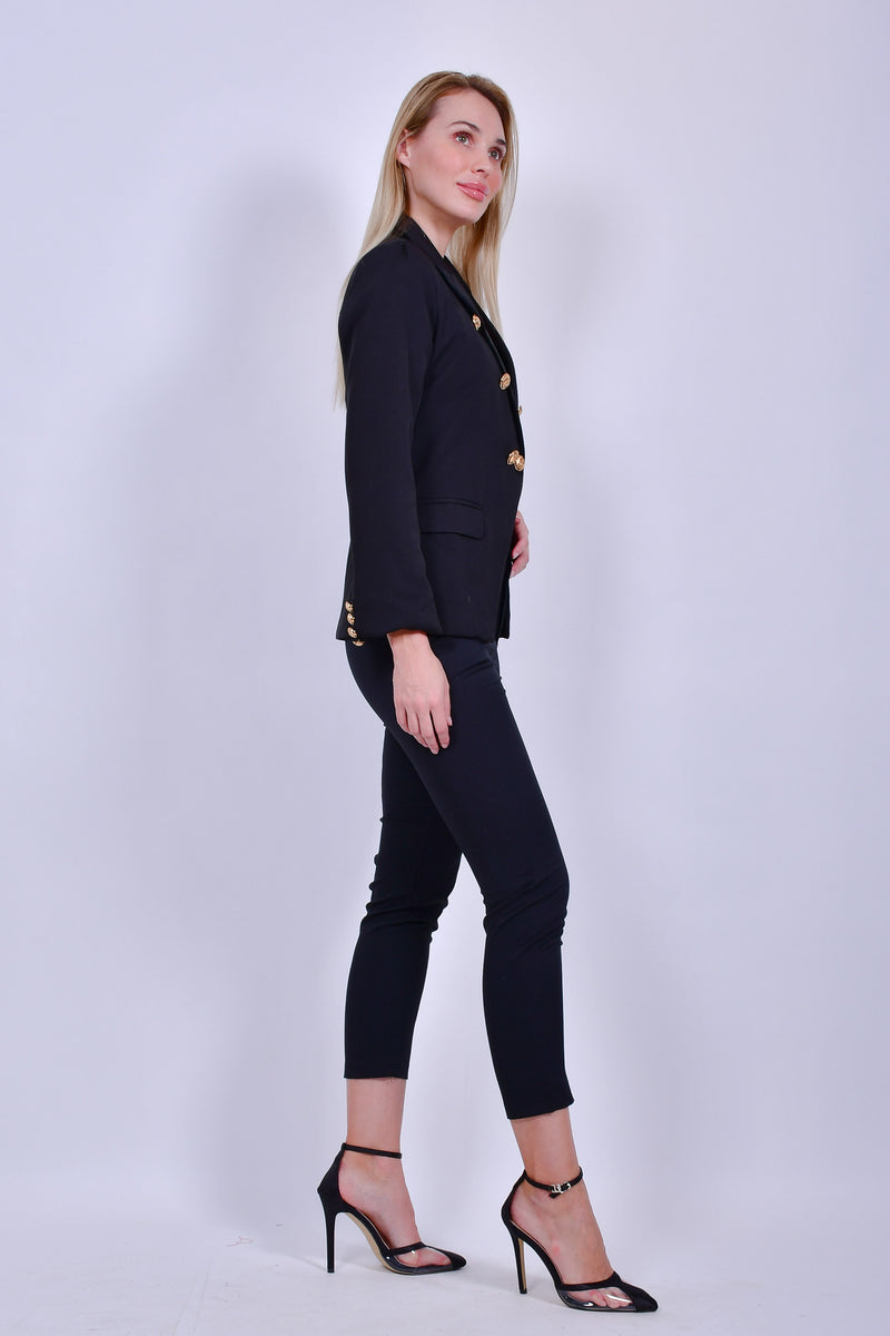 Black Jacket and Pants Set with Gold Buttons