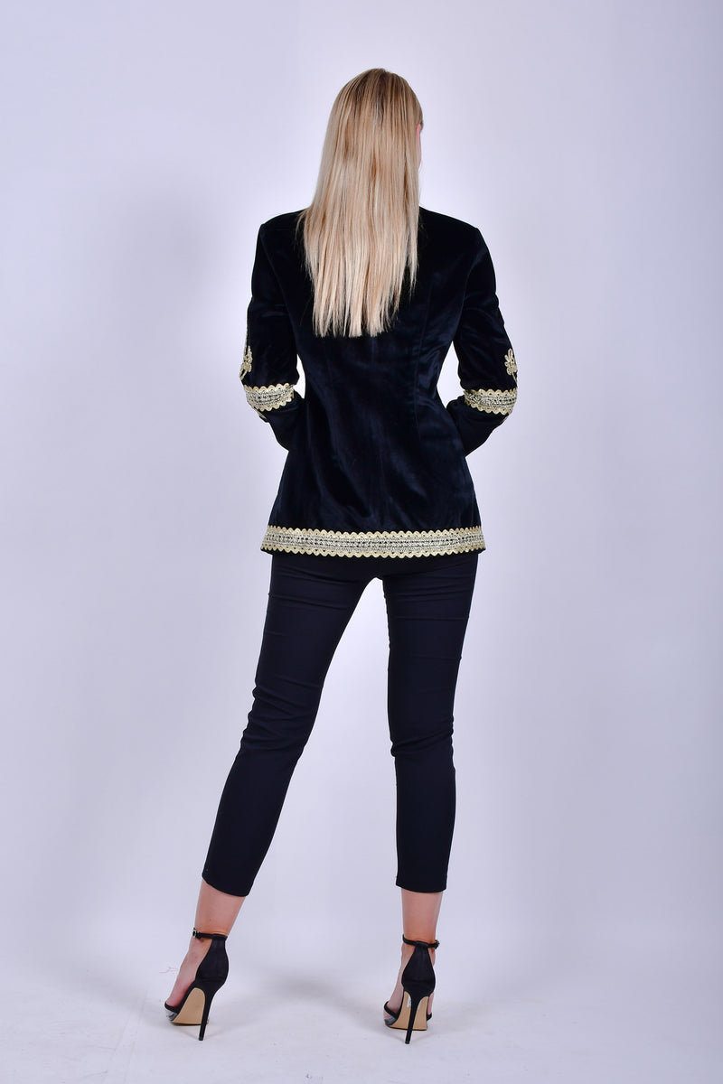 Black Velvet Jacket with Gold Embroidery
