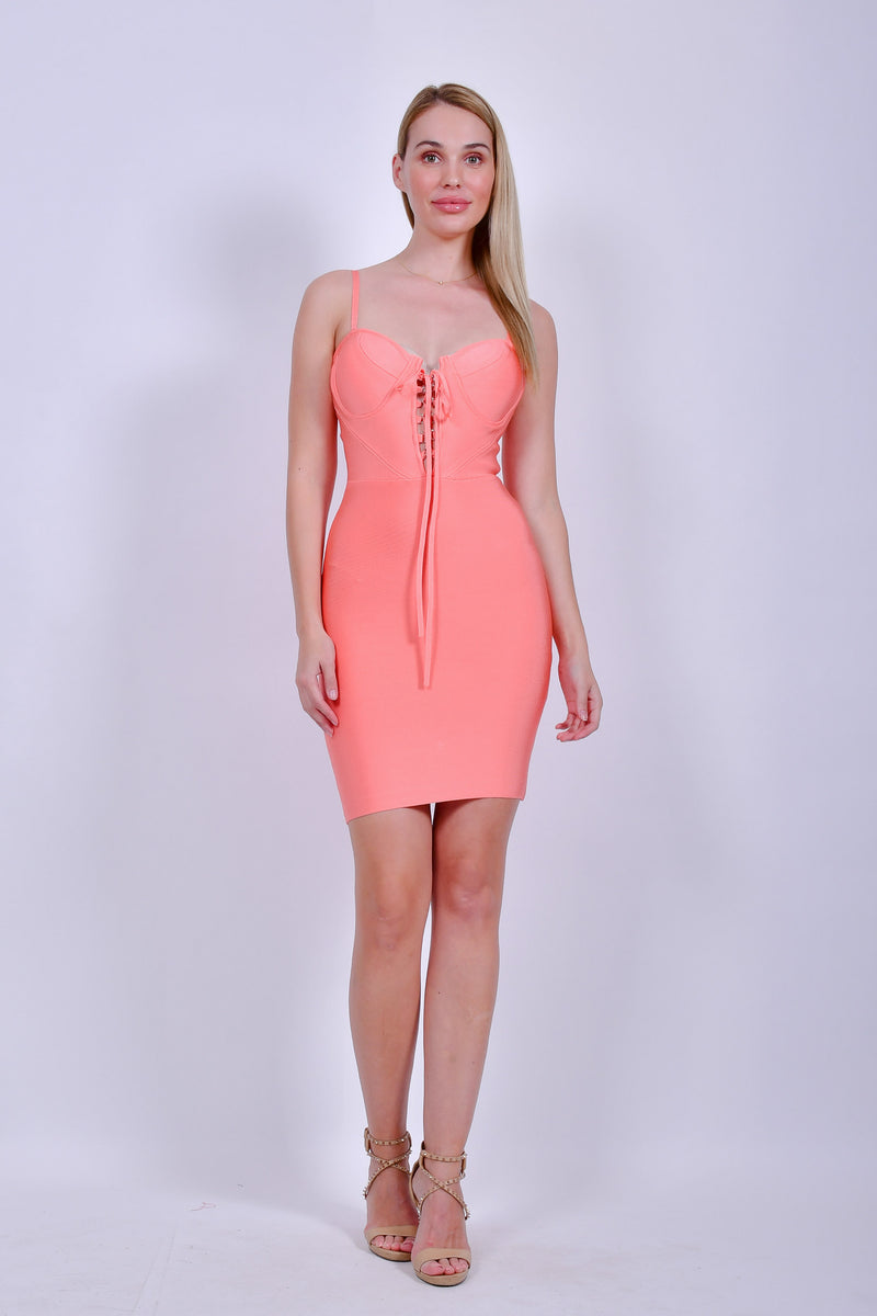 Orange Bandage Mini Dress With Spaghetti Strap Laced Up Front
