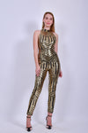 Gold and Black Sequins Jumpsuit with Open Back