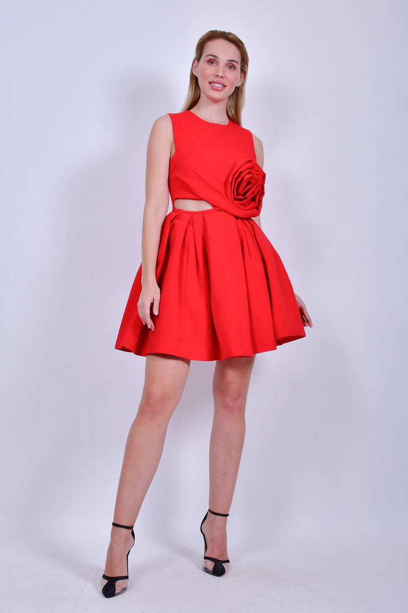Red Mini Dress With Big Flower Detail