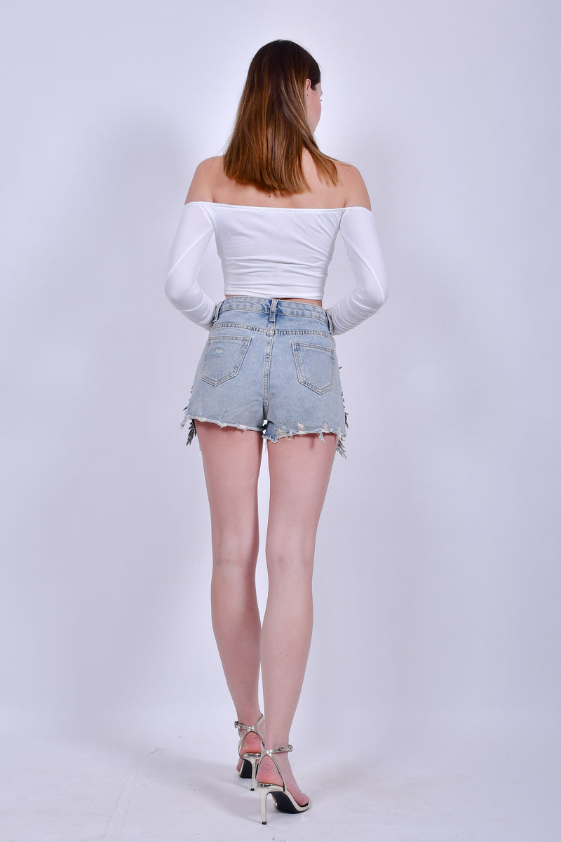 Jean Shorts with Sequins