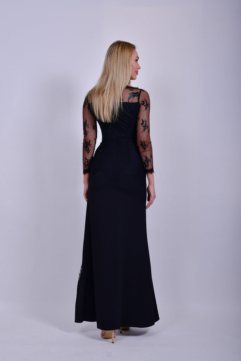 Black Long Sleeve Lace Gown with Front Slit