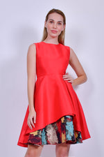 Red Sleeveless Midi Dress with Multicolored Detail