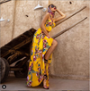 Two Piece Yellow with Flowers Silk Crop Top and Long Skirt