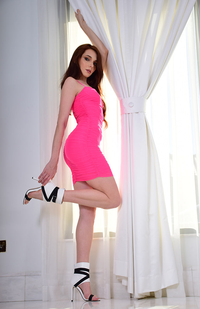 Hot Pink Bodycon Ruched  Dress with Mesh overlay