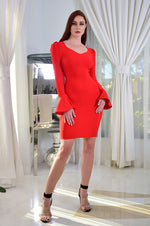 Red Long Sleeved Bandage Mini Dress