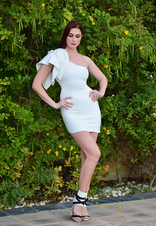 White Bandage One Shoulder with Ruffle Mini Dress