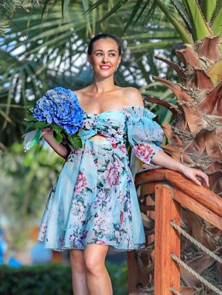 Blue Floral Off the Shoulder Mini Dress