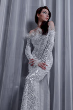 White Off the Shoulder Evening Gown with Feathers