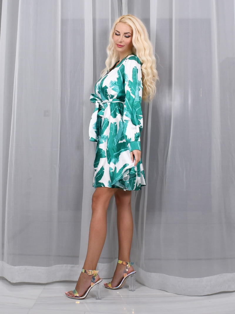 White and Green Satin Wrap Mini Dress