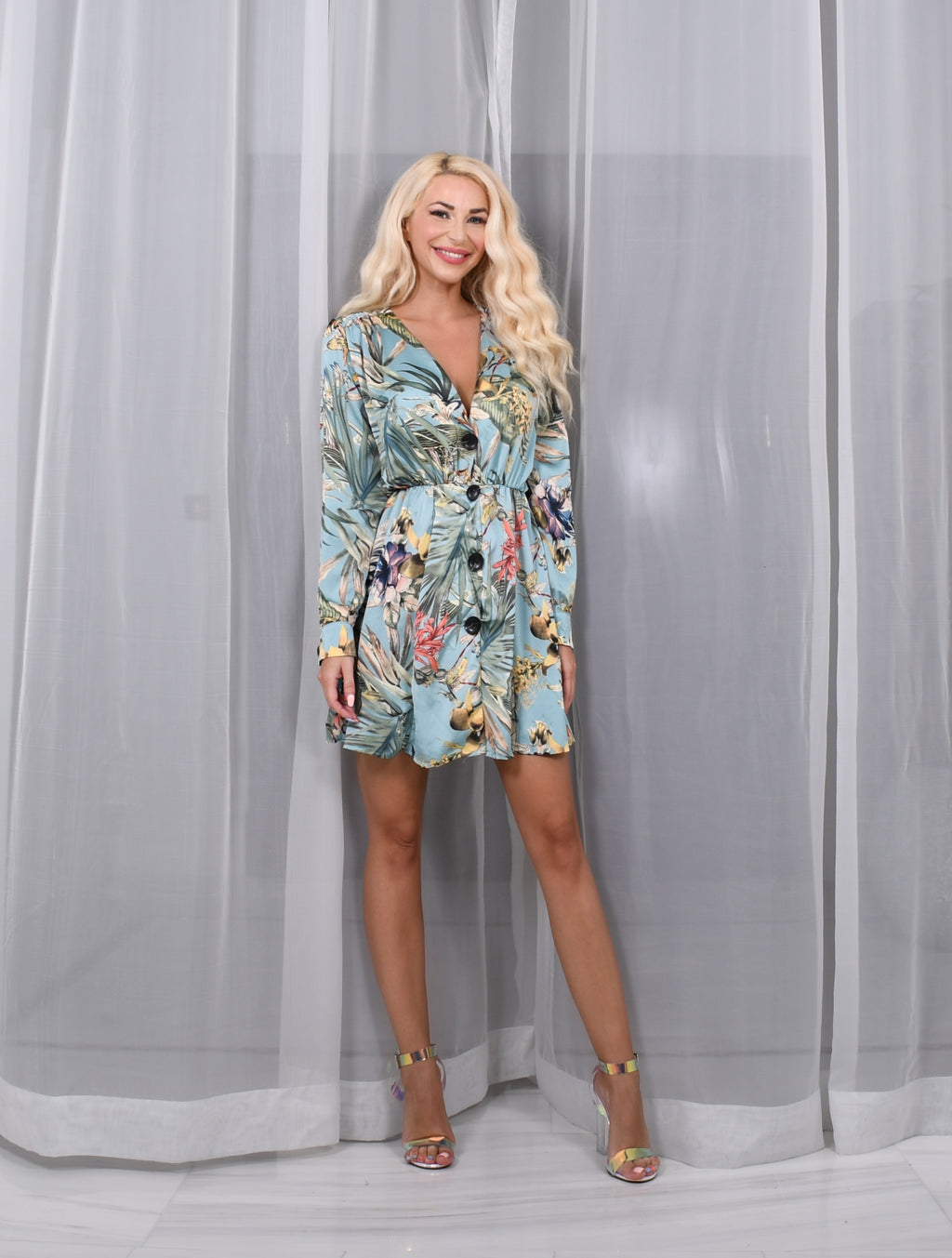 Blue Long Sleeve Day Dress