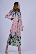 Pink with Prints Pleated Maxi Dress