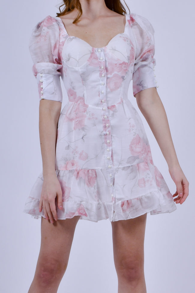 White Puff Sleeve With Pink Floral Print Mini Dress