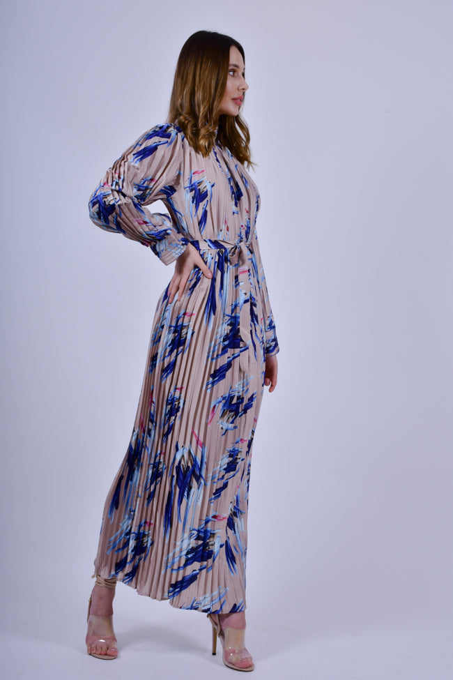 Blue Printed Pleated Maxi Dress with Long Sleeves