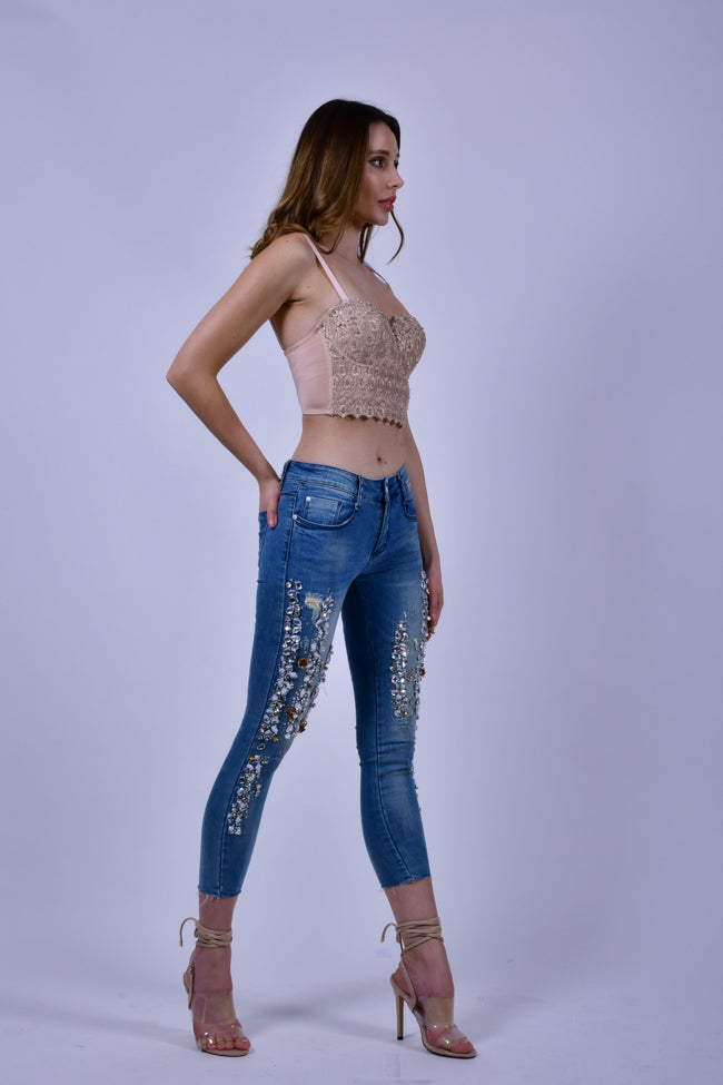 Jeans with Crystal Embroidery