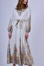 White Long Sleeve Maxi Dress with Floral Design