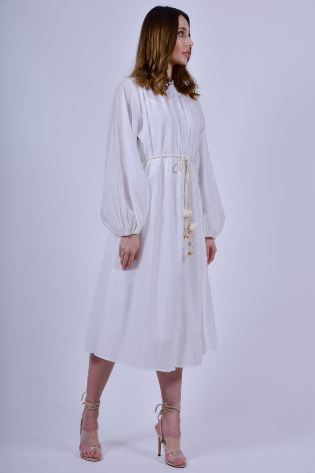 White Long Sleeves Shirt Midi  Dress and Rope Belt