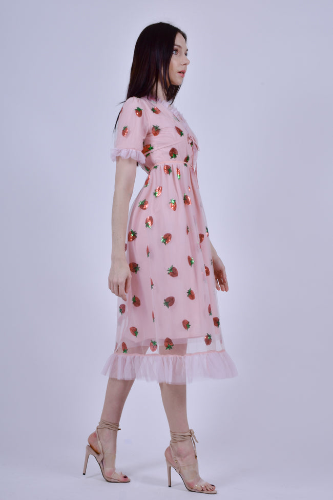 Pink Midi dress with Strawberries