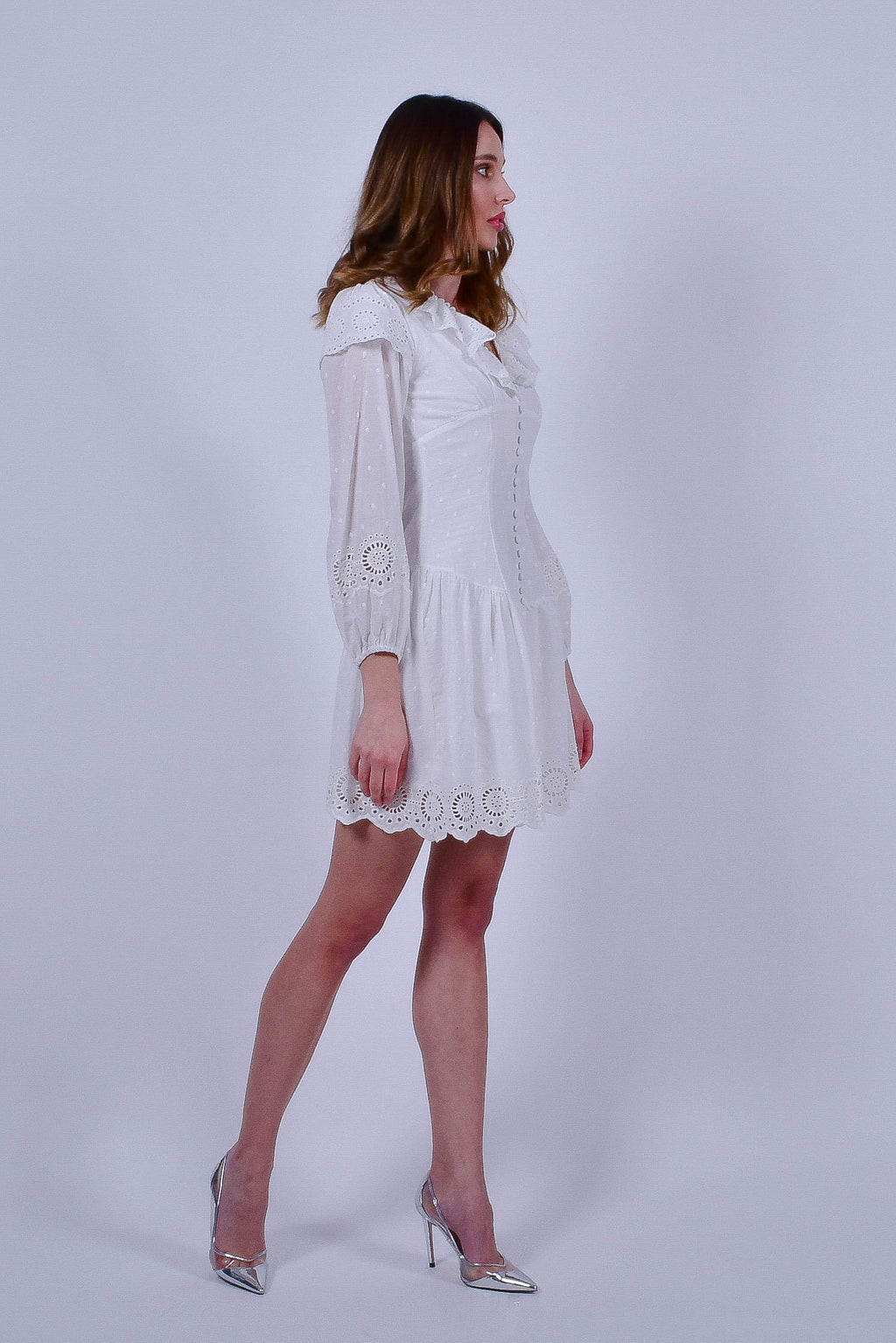 White Dress with Long Sleeves