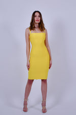Yellow Halter Bandage Dress with Back Lace up
