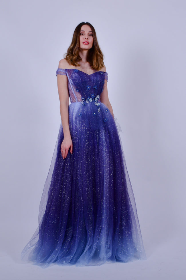Purple off The Shoulder Evening Tulle gown with Flower Detail