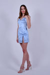 Powder Blue Satin Mini Dress with Bow High Slit and Crystal Detail