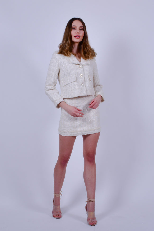 White Tweed Jacket and Skirt Set