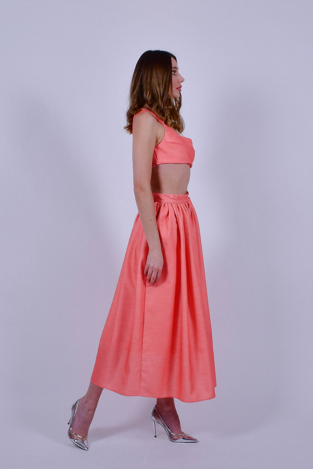 Peach Crop Top and Midi Skirt Set