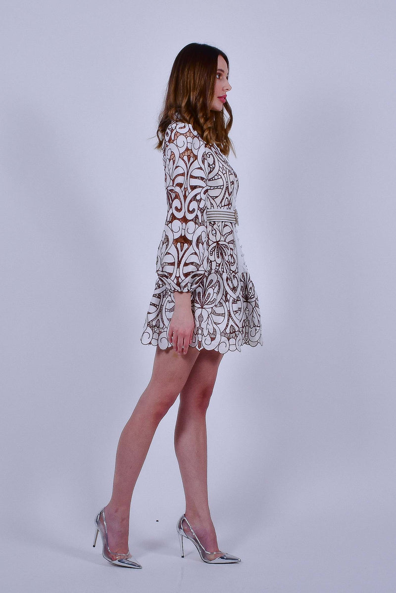 Brown and White Crochet Lace Dress