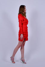 Red bandage Mini Dress with Long Sleeves and Fringe