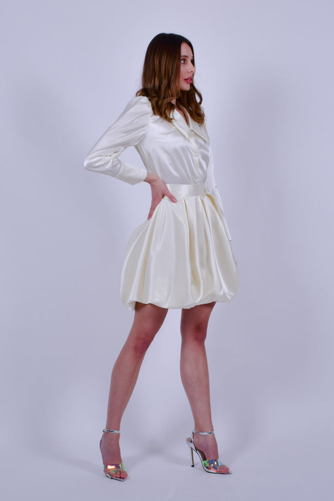 Cream Satin Long Sleeve Buttoned Down Shirt with Bubble Mini Skirt Set
