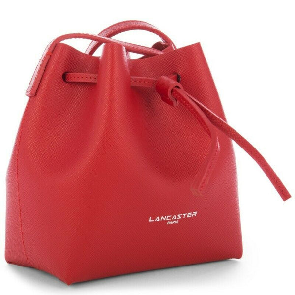 Lancaster Paris MINI Bucket bag leather saffian red