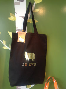Medium black cotton tote with sheep pin