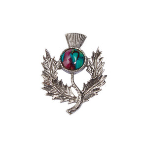 Heather Gems Traditional Scottish Thistle Brooch in Pewter