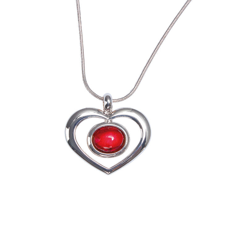 Heather Gems Open Heart Silver Plated Pendant