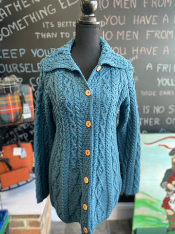 Aran Woollen Button Up Cardigan