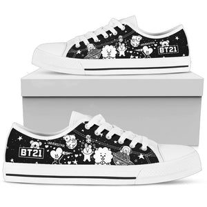 Bangtan21 Black And White Low Tops