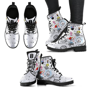 Bangtan21 White Leather Boots
