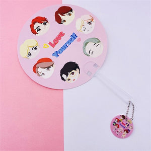 Bangtan Boys PVC Cartoon Fans With Pendant