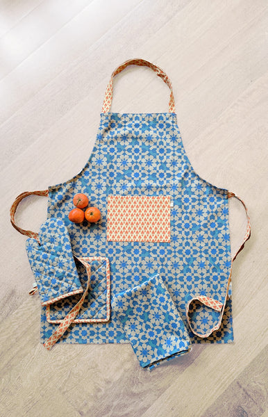 Blue Brick Road Apron & Oven Mitt Set