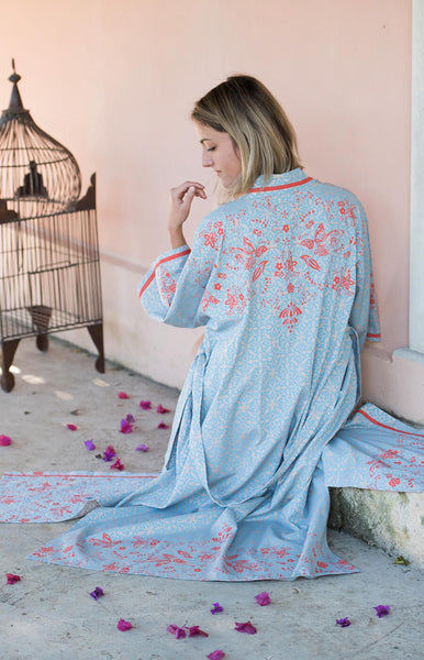 Humming Bird Dawn Long Kimono