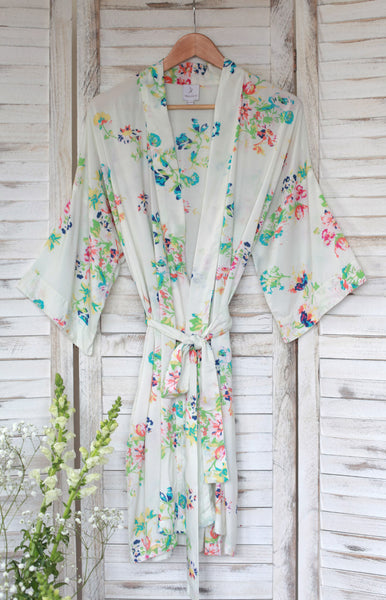 Floral Rainbows Short Kimono Dressing Gown