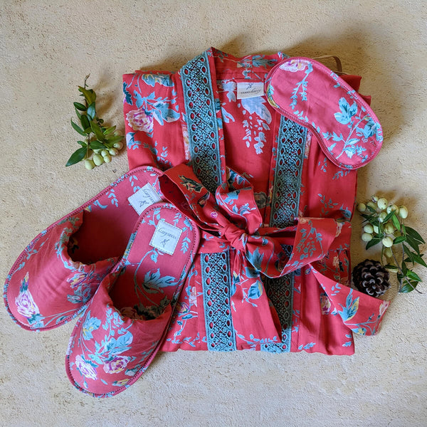 Parisian Rouge Organic Cotton Kimono, Slipper & Eye Mask Set
